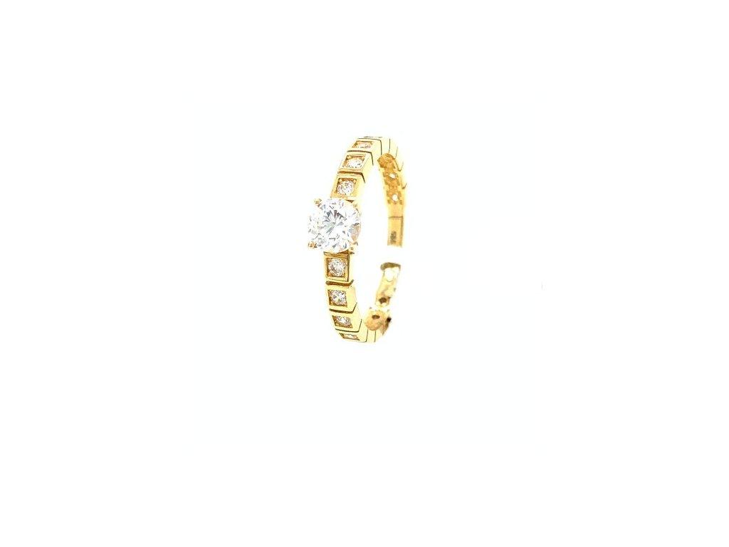 Dámský prsten ze žlutého zlata se zirkony AUZ217 zlatnictvivymolovi.cz