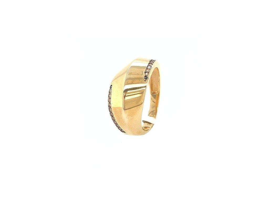 Dámský prsten ze žlutého zlata se zirkony AUZ220 zlatnictvivymolovi.cz