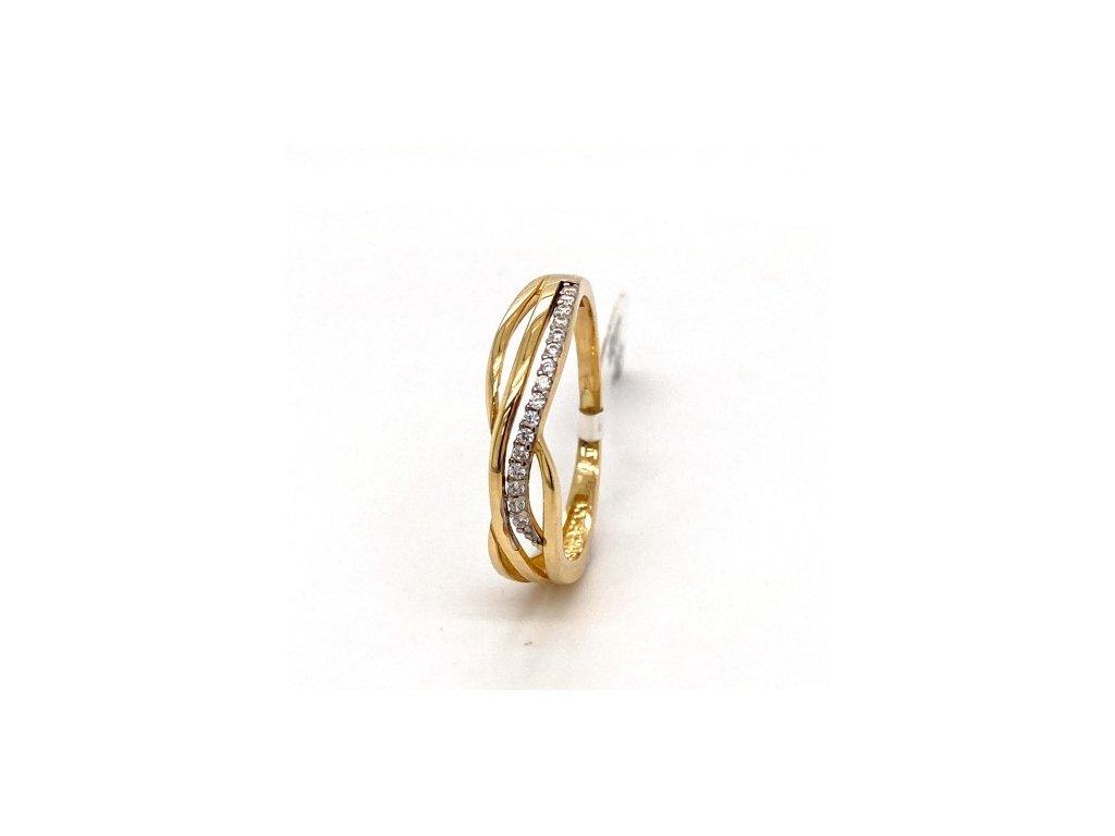 Dámský prsten ze žlutého zlata, se zirkony AUZ187 zlatnictvivymolovi.cz