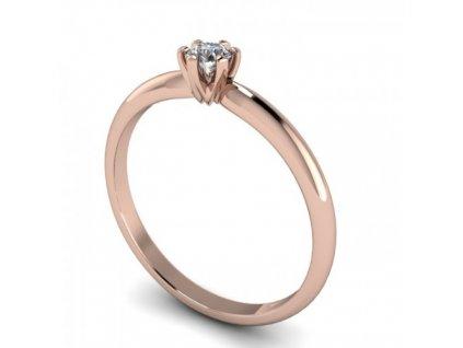 Prsten z růžového zlata s briliantem SPJ58H Šperky JANN
