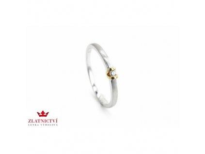 Prsten v kombinaci bílého a žlutého zlata s briliantem AUBR76 zlatnictvivymolovi.cz