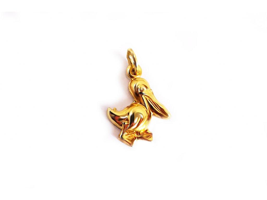 """Prívesok """"pelikán"""" zo žltého zlata  +servis + krabička"""