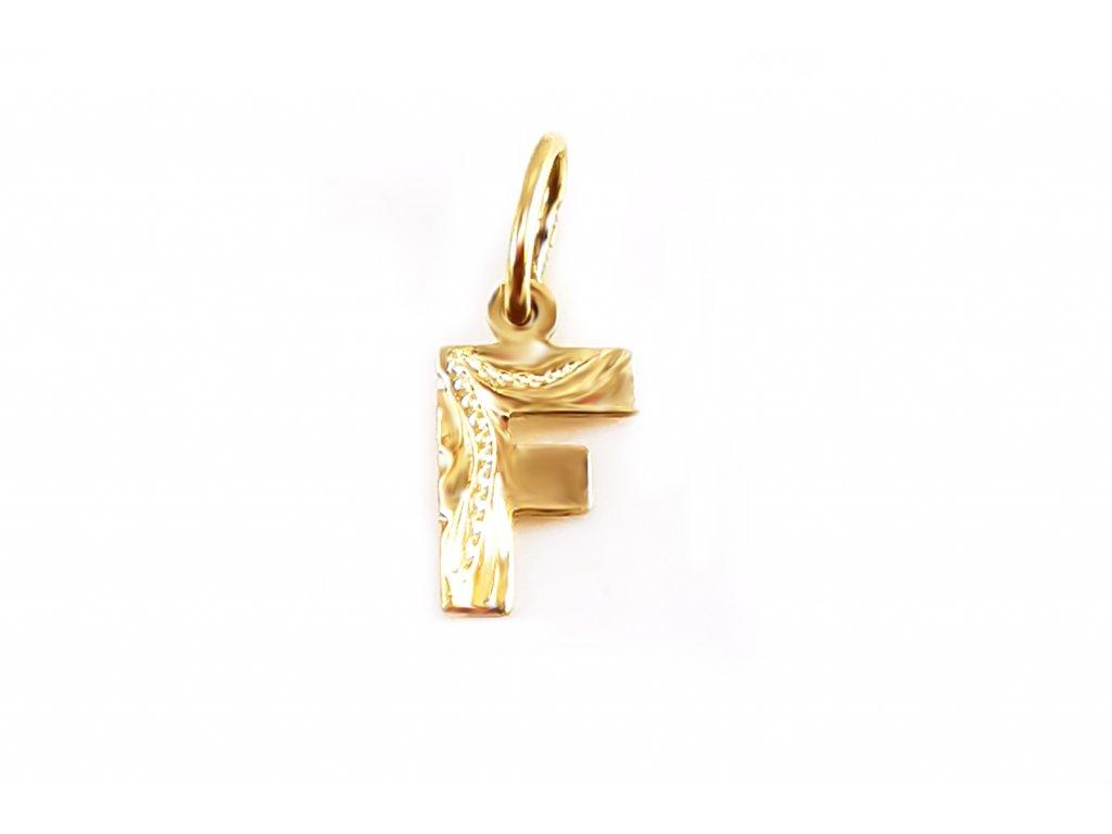Zlatý prívesok PÍSMENO F žltý  +servis + krabička