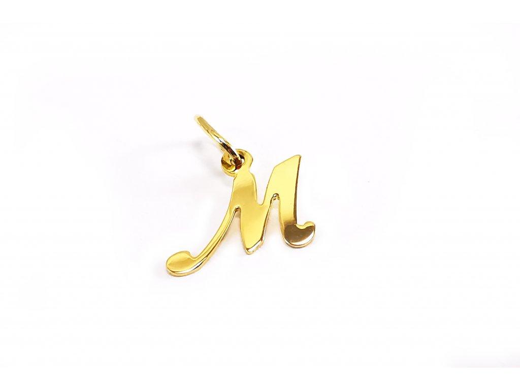 """Prívesok v tvare písmena """"M"""" zo žltého zlata  +servis + krabička"""