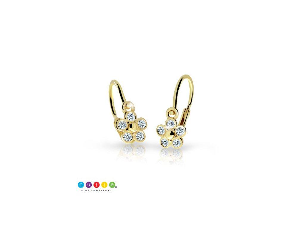 detske nausnicky cutie kyticky c2744 zo zlteho zlata s kamienkami white 15616