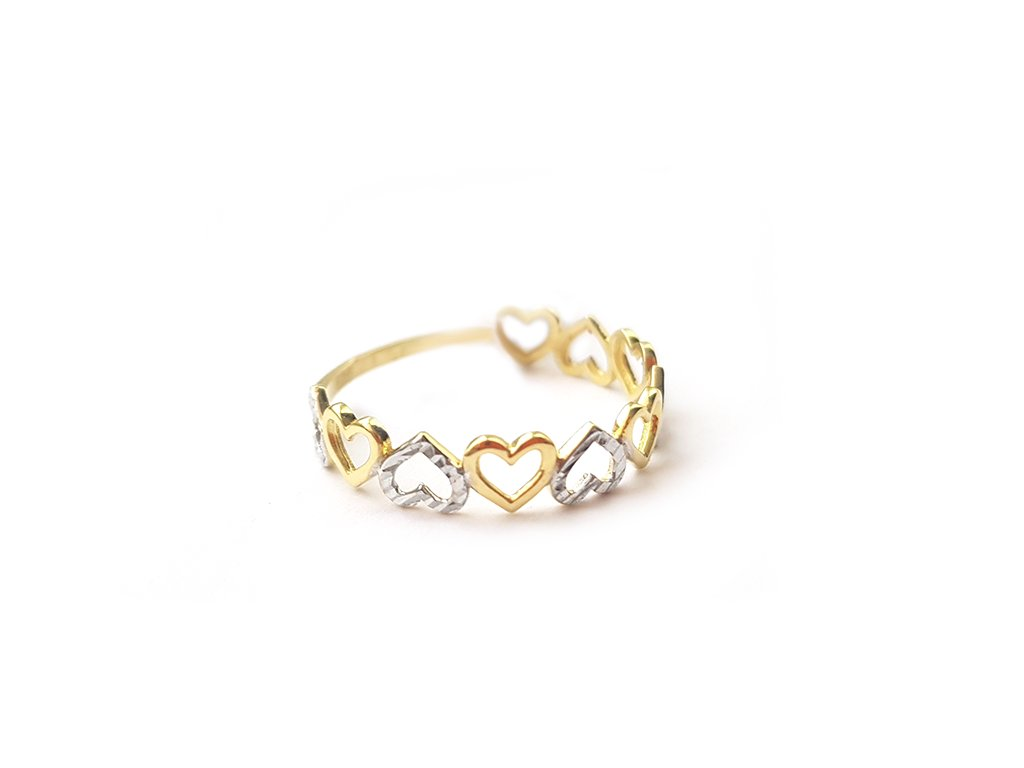 Zlatý prsteň SRDIEČKA žlto-biely  +servis + krabička