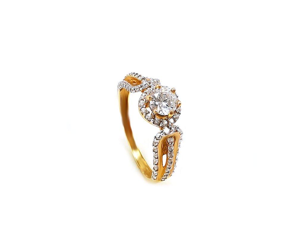 Zlatý prsteň KAMIENKY žltý  +servis + krabička