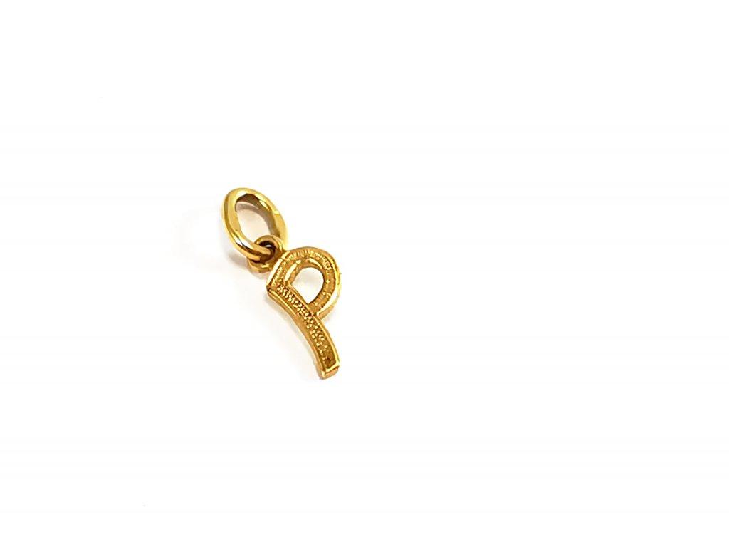 Zlatý prívesok PÍSMENO P žltý  +servis + krabička
