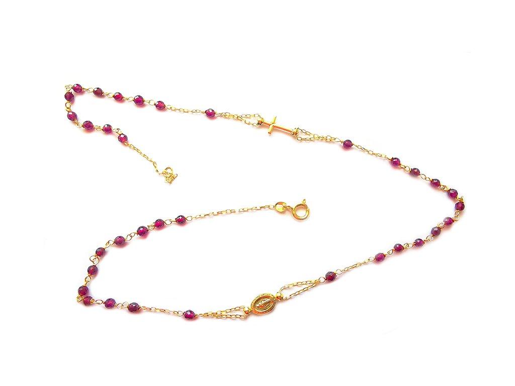 Náhrdelník RUŽENEC zo žltého zlata s červenými kameňmi  +servis + krabička
