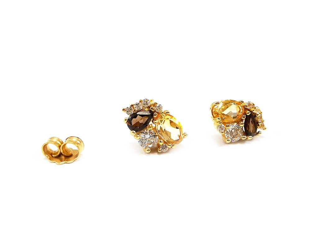 Zlaté náušnice JESEŇ viacfarebné  +servis + krabička