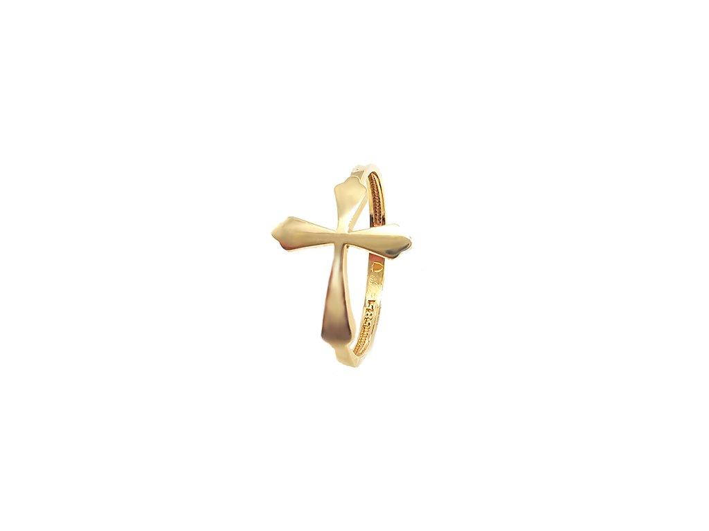Zlatý prsteň KRÍŽIK žltý  +servis + krabička, darček