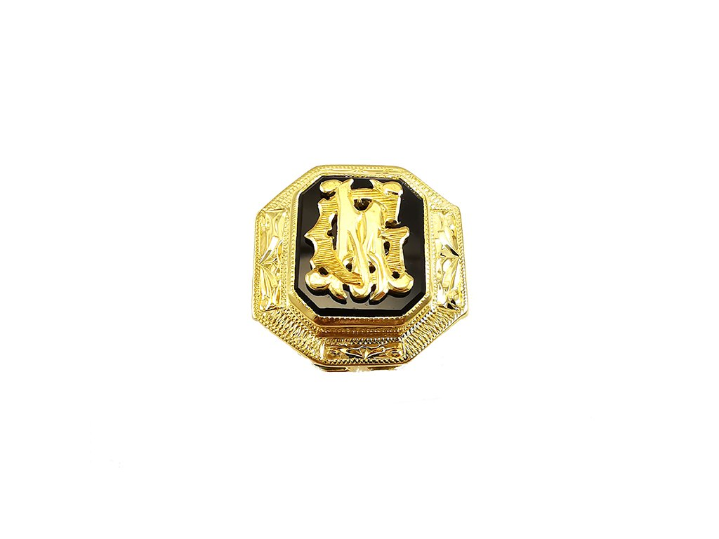 Zlatý prsteň s monogramom žltý  +doživotný servis + krabička, darček