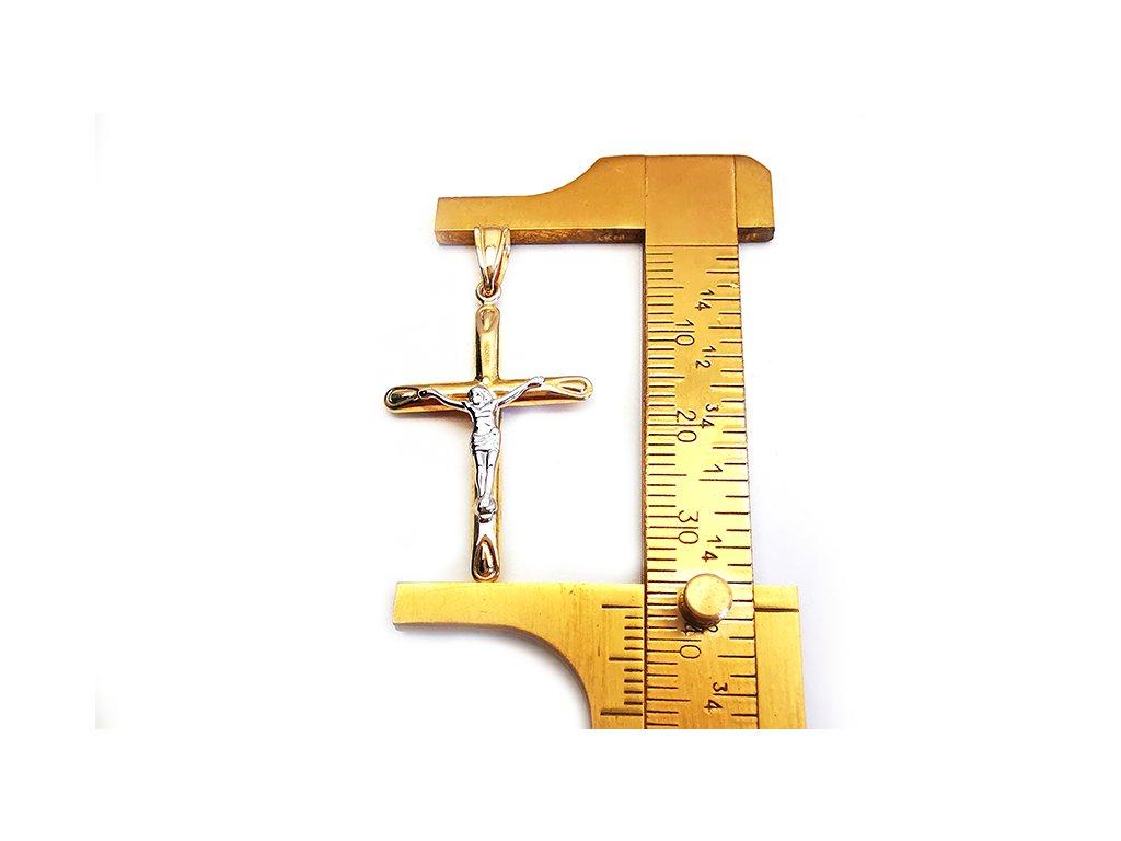 Zlatý prívesok krížik s Ježiškom, bielo-žltý  +servis + krabička, darček