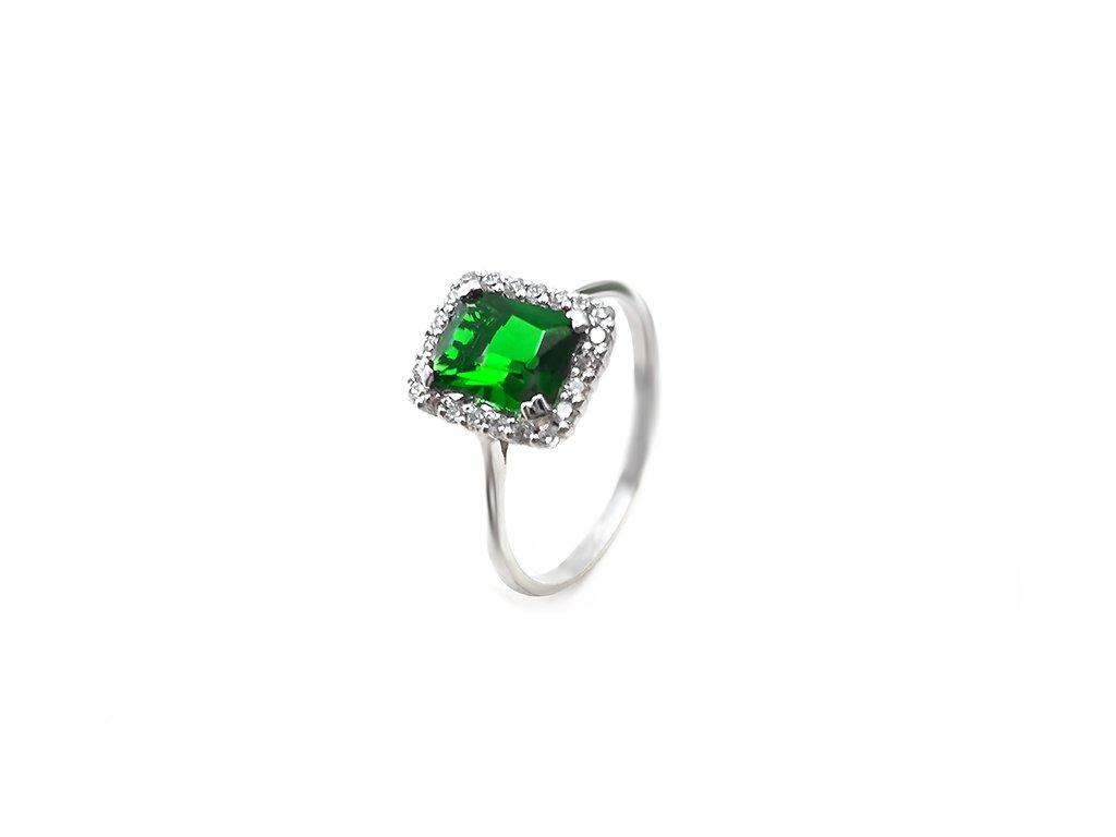 Elegantný prsteň z bieleho zlata s ústredným zeleným zirkónom  +servis + krabička, darček