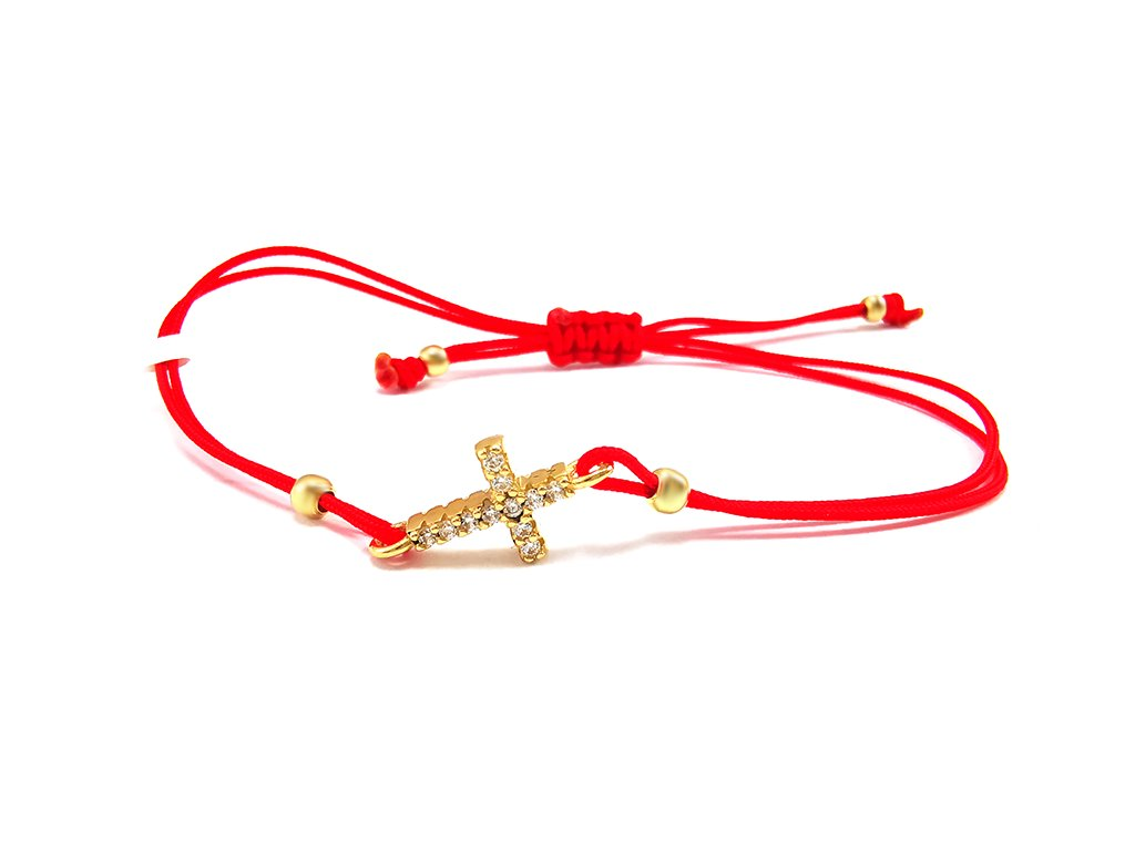 Červený náramok proti urieknutiu s krížikom zo žltého zlata  +servis + krabička, darček