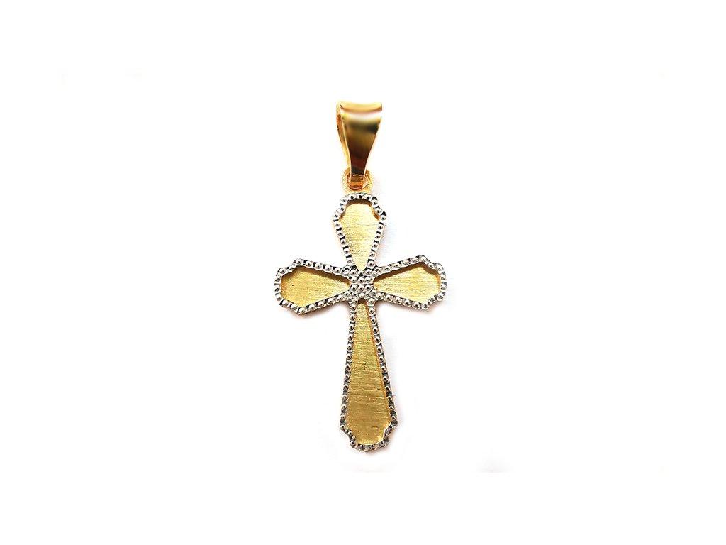 Jemný a trblietavý prívesok krížik zo  žlto-bieleho zlata  +servis + krabička, darček