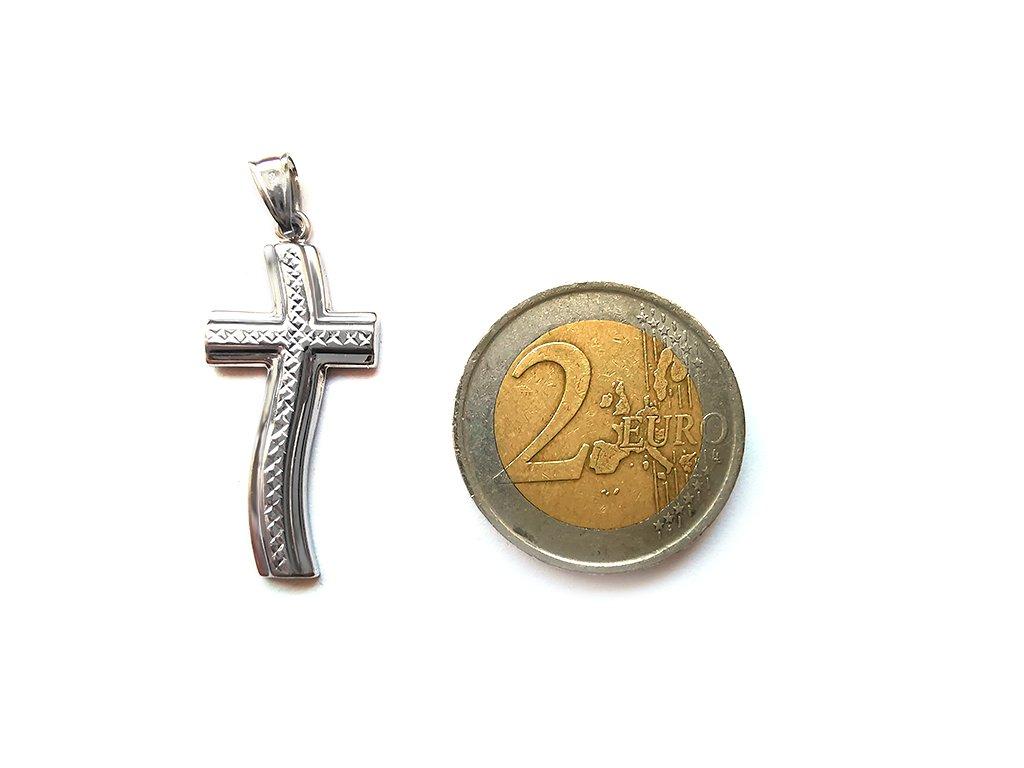 Extravagantný prívesok v tvare Kríža z bieleho zlata  +servis + krabička, darček