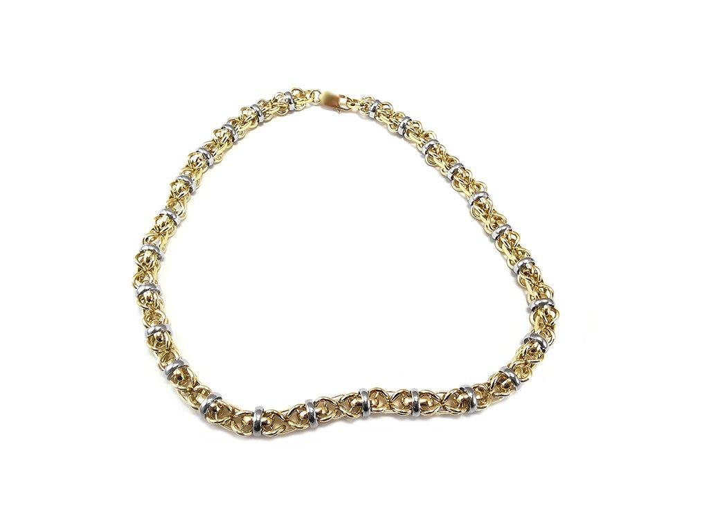 Nádherný a extravagantný náhrdelník QUEEN z kombinovaného žlto-bieleho zlata  +doživotný servis + krabička, darček