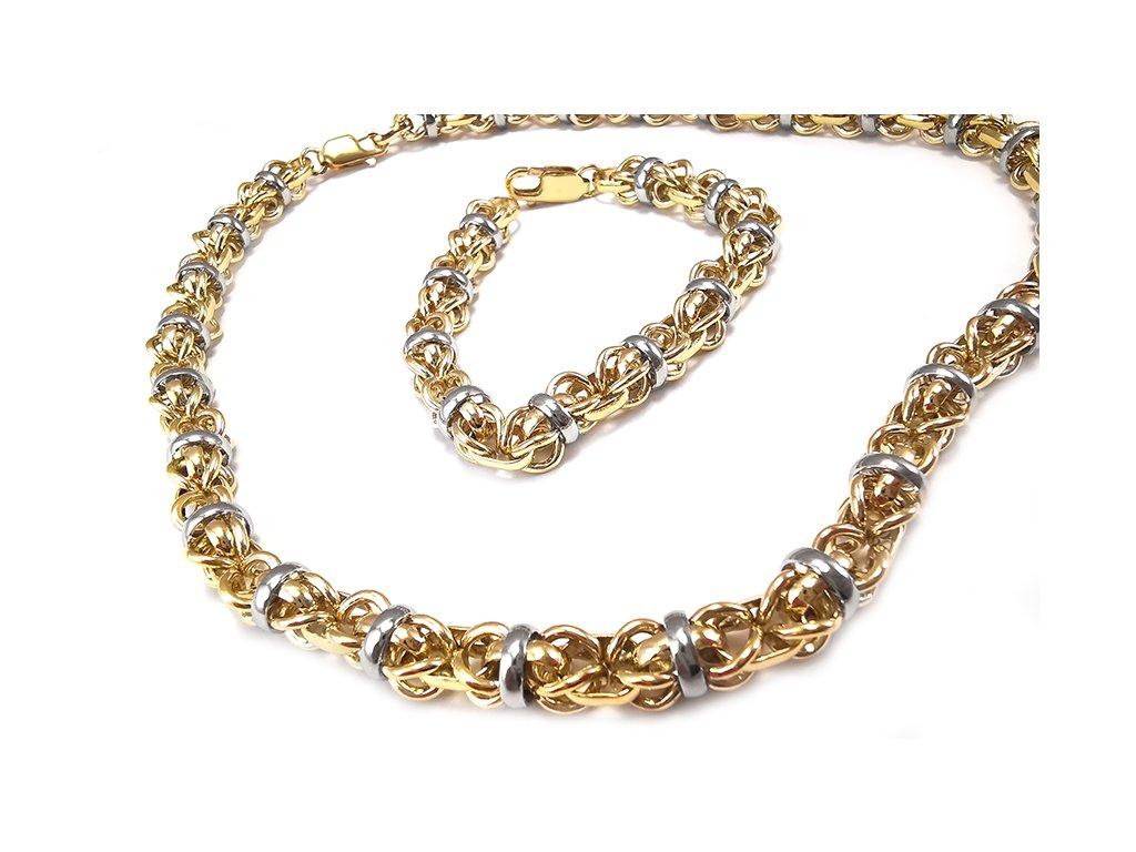 Nádherný a extravagantný náramok QUEEN z kombinovaného žlto-bieleho zlata  + doživotný servis + krabička, darček