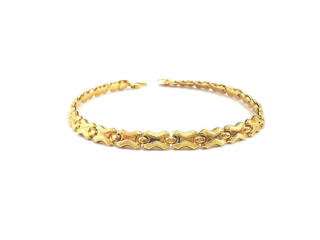 Dámsky náramok článkový zo žltého zlata lesklého i matovaného  +servis + krabička, darček