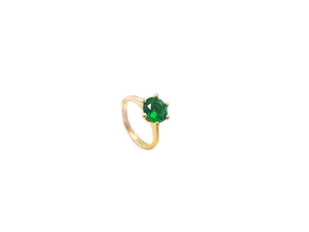 Elegantný zásnubný prsteň zo žltého zlata so zeleným kameňom  + krabička, darček