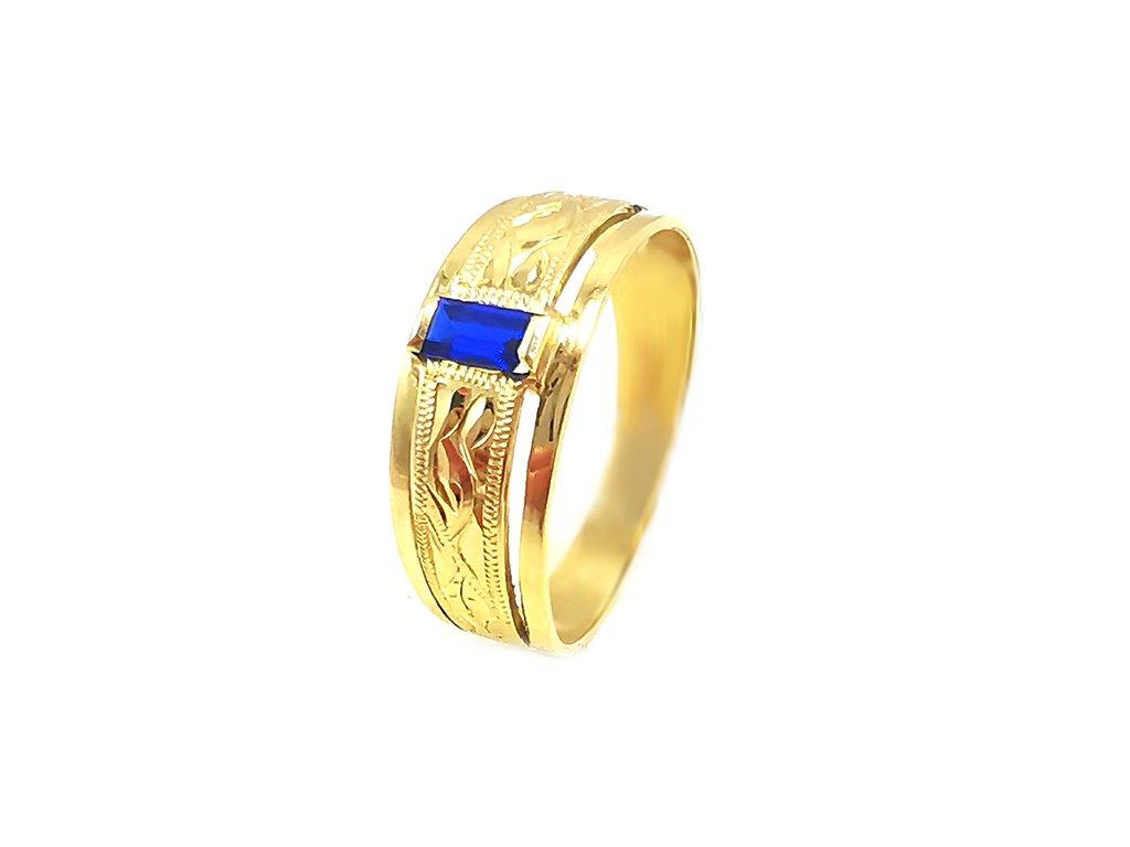 Zlatý psteň VZOR 768 zo žltého zlata so zirkónom v kráľovsky modrej farbe  +servis + krabička, darček