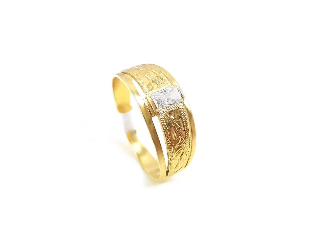 Zlatý psteň VZOR 768 zo žltého zlata s bielym zirkónom
