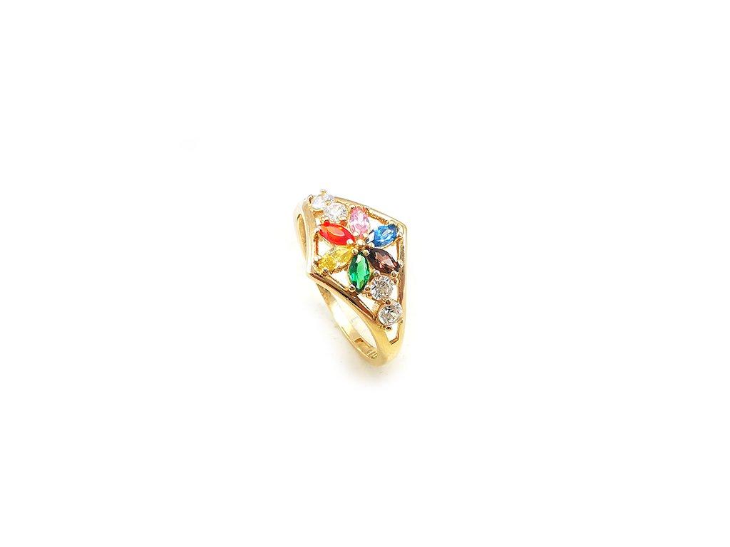 Nádherný dámsky prsteň zo žltého zlata s farebnými zirkónmi  +servis + krabička, darček