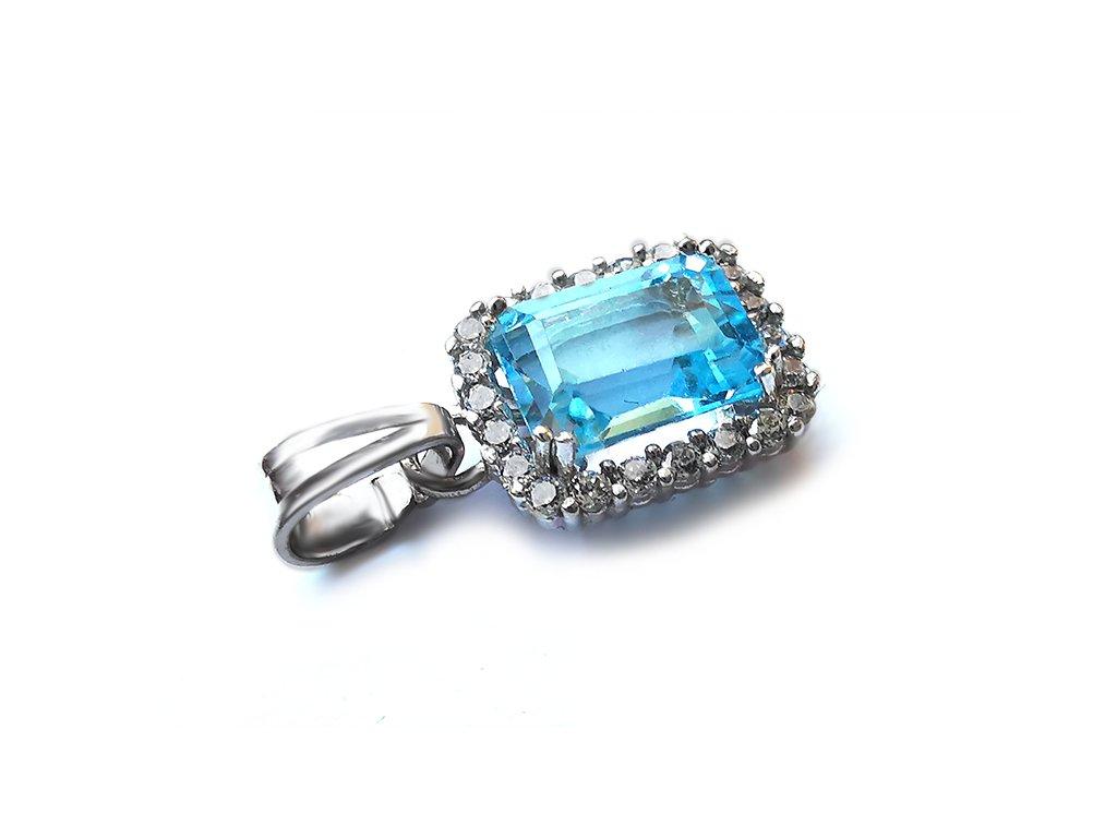 Výnimočný prívesok z bieleho zlata s nebovo modrým kameňom  +servis + krabička