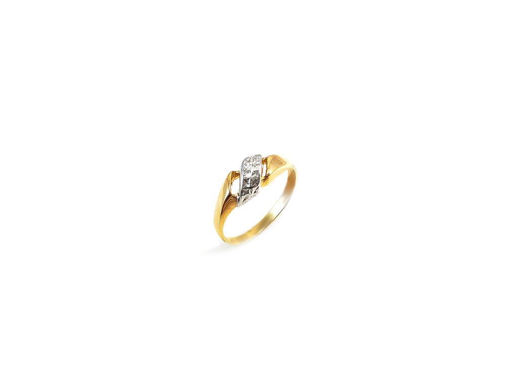 Jemný zlatý prsteň v žlto-bielej farbe  +servis + krabička, darček