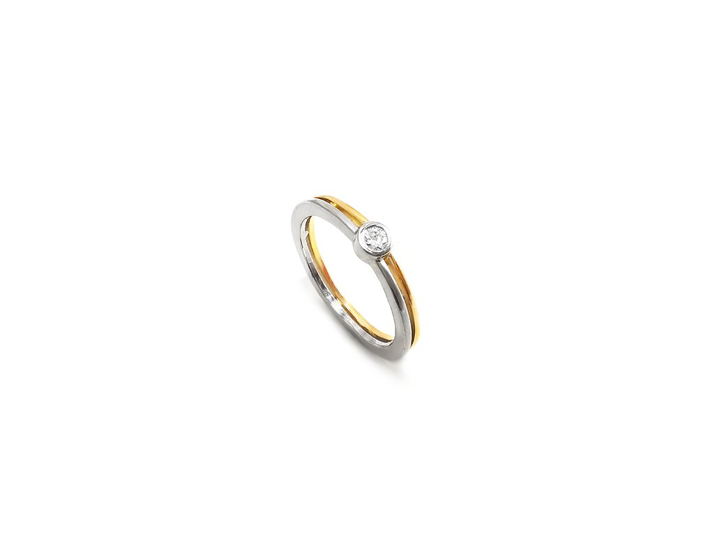 Nádherný dámsky prsteň z PLATINY v kombinácií s 18 karátovým žltým zlatom a briliantom  + doživotný servis + krabička, darček