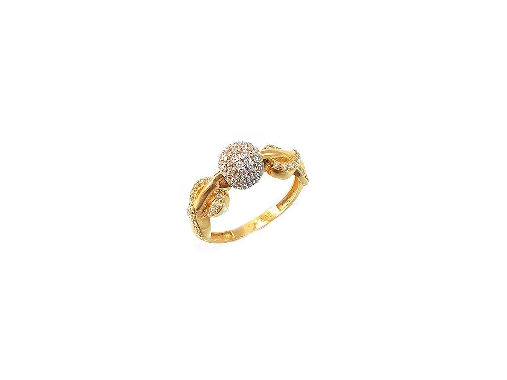 Extravagantný prsteň zo žltého zlata s guličkou so zirkónmi najvyššej kvality  +krabička, darček