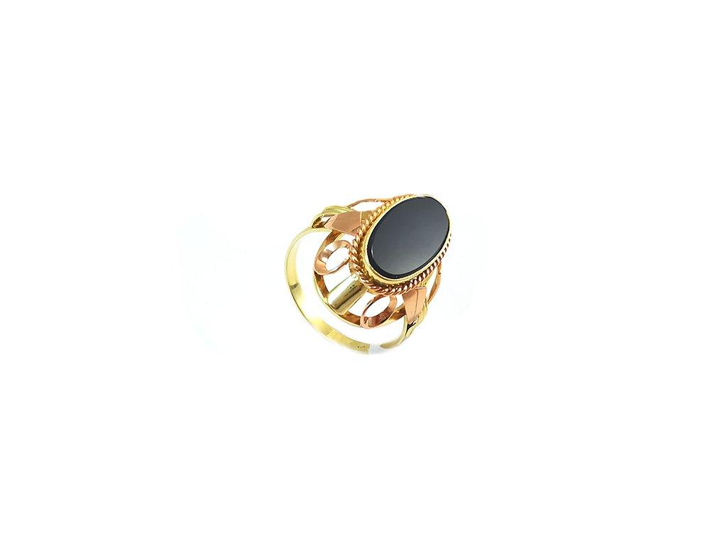 Nádherný dámsky prstienok zo žltého zlata s ónixom  + servis + krabička, darček
