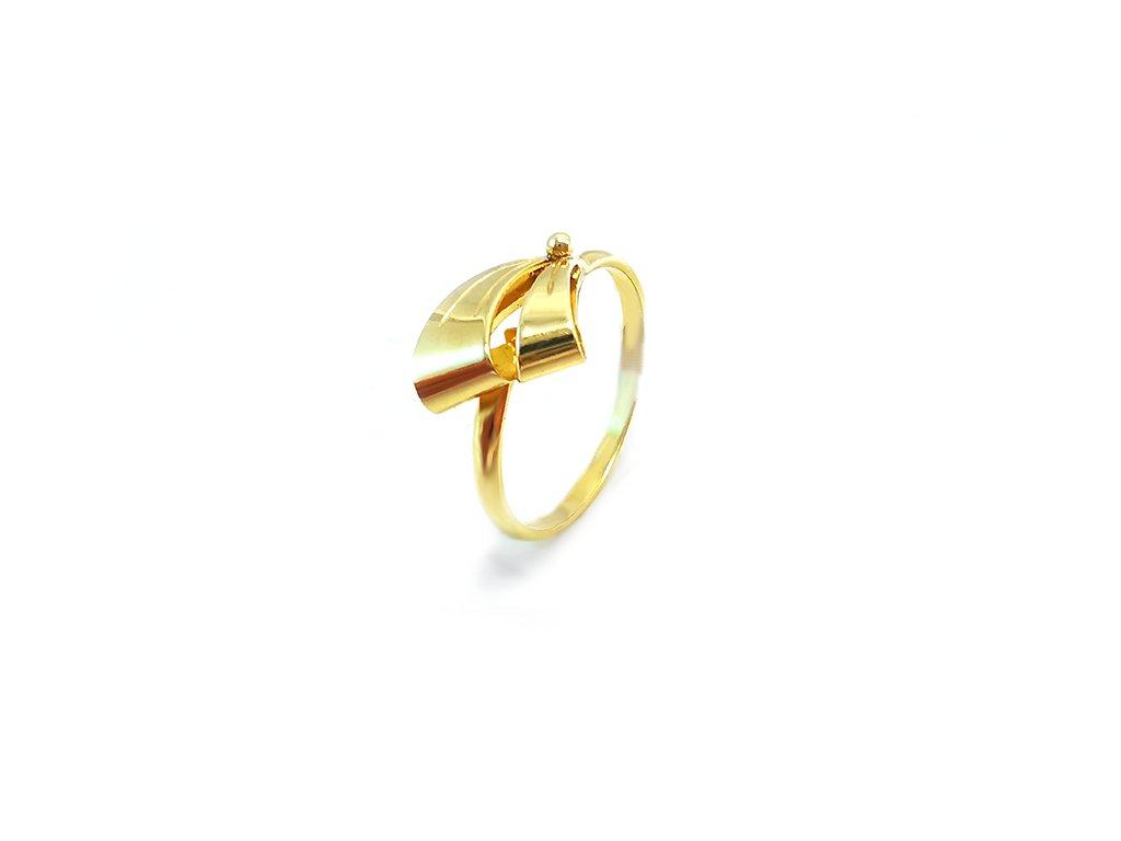 Výrazný prstienok mašlička zo žltého zlata  +servis + krabička