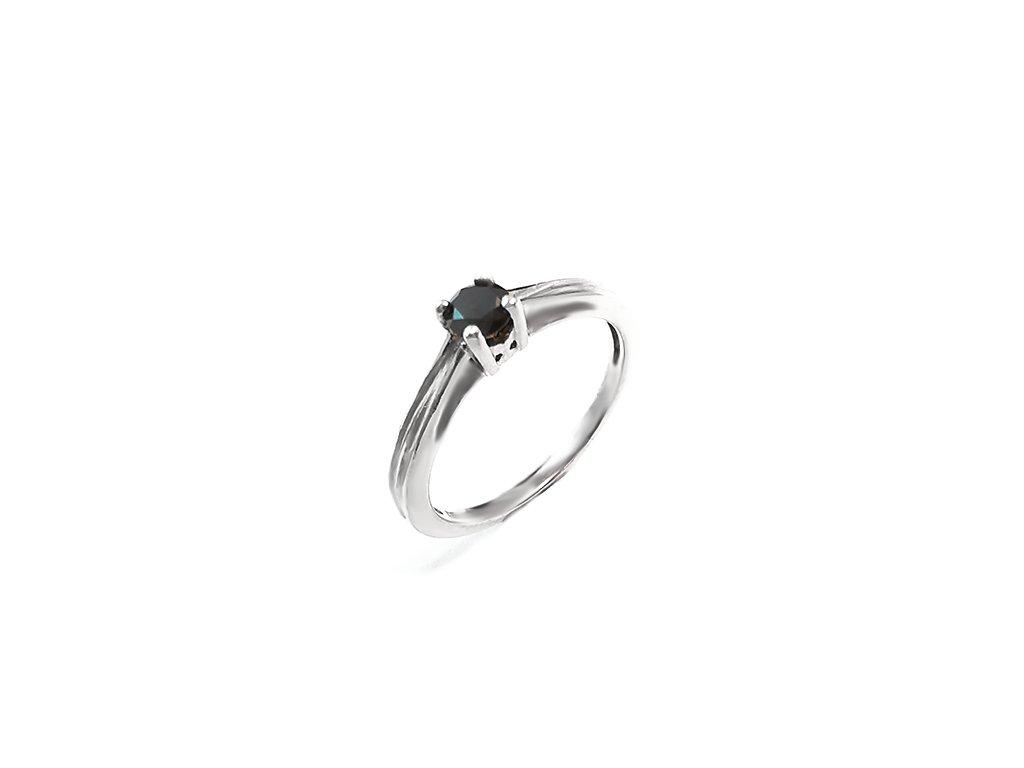 Elegantný dámsky prsteň s čiernym briliantom z bieleho zlata  +servis + krabička, darček