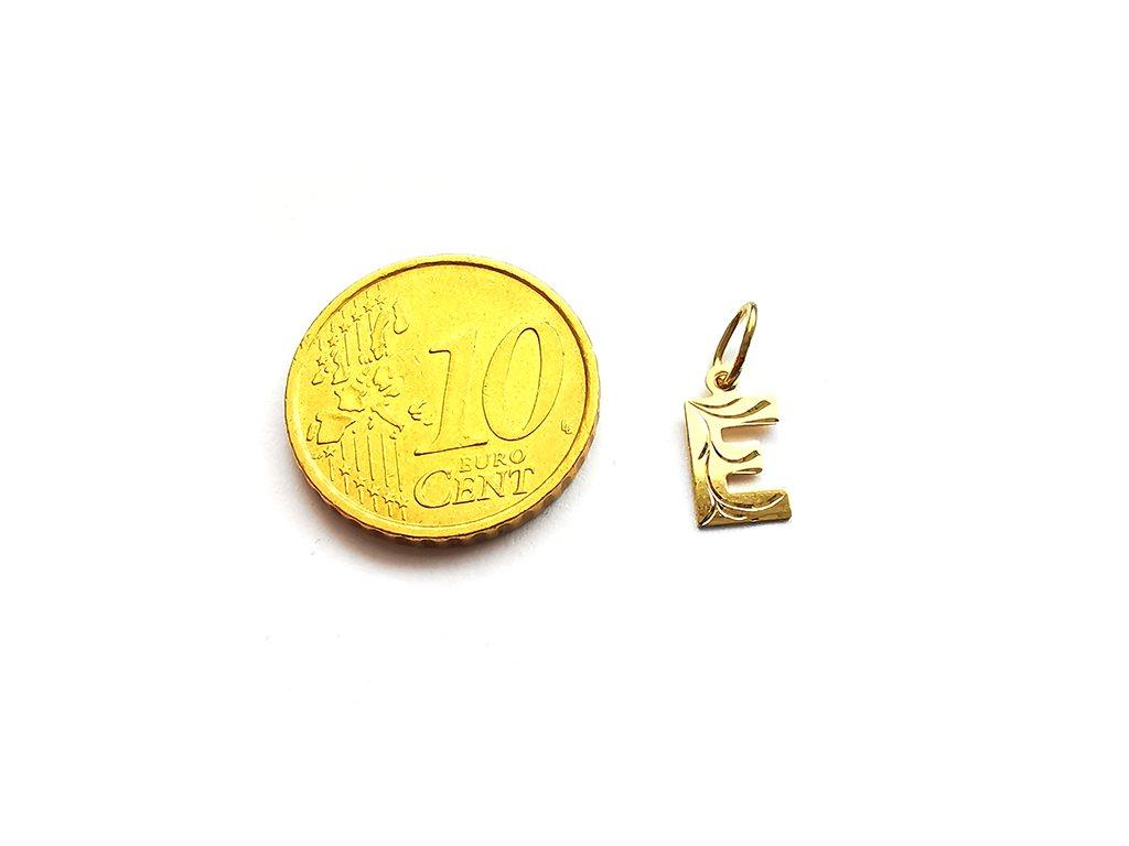 Zlatý prívesok technické PÍSMENO E  +servis + krabička