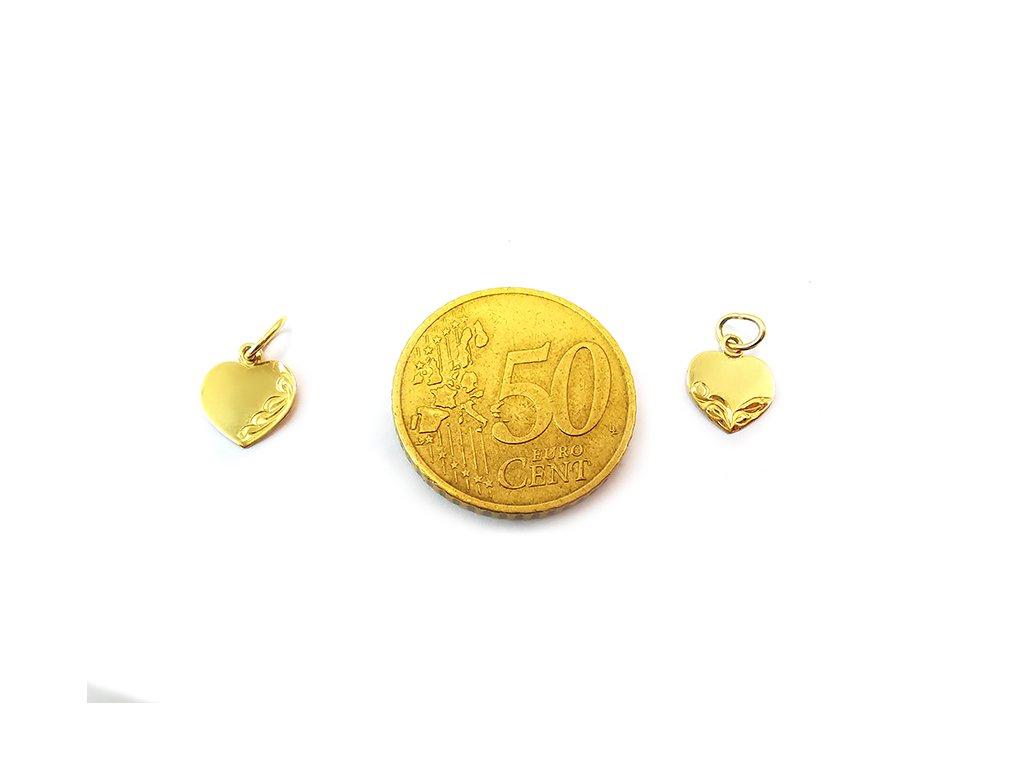 Prívesok srdce zo žltého zlata -vhodný na gravírovanie  +servis + krabička