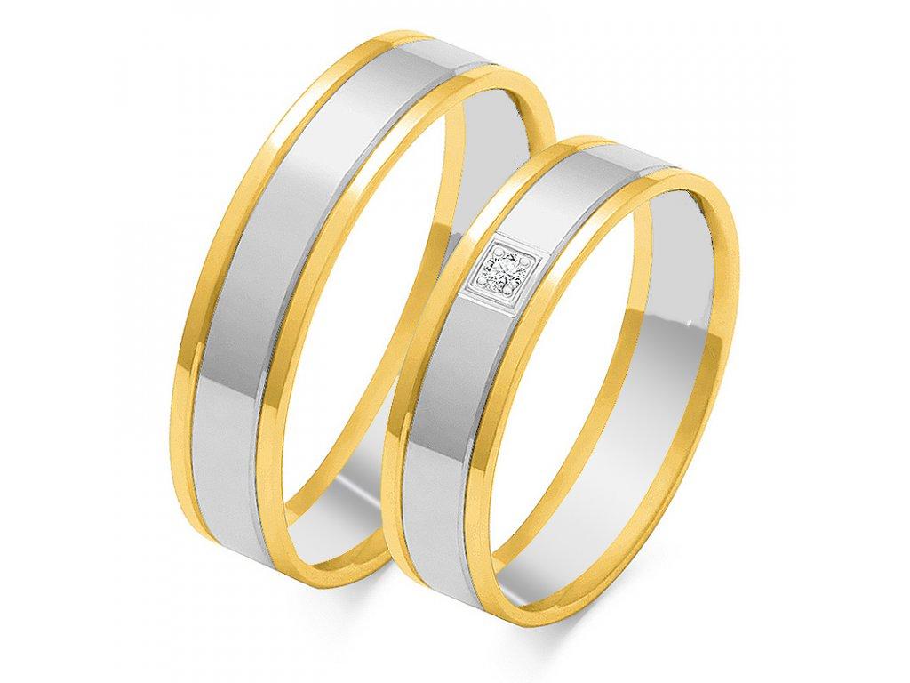 Svadobné obrúčky model OE-35 kombinované bielo-žlté zlato