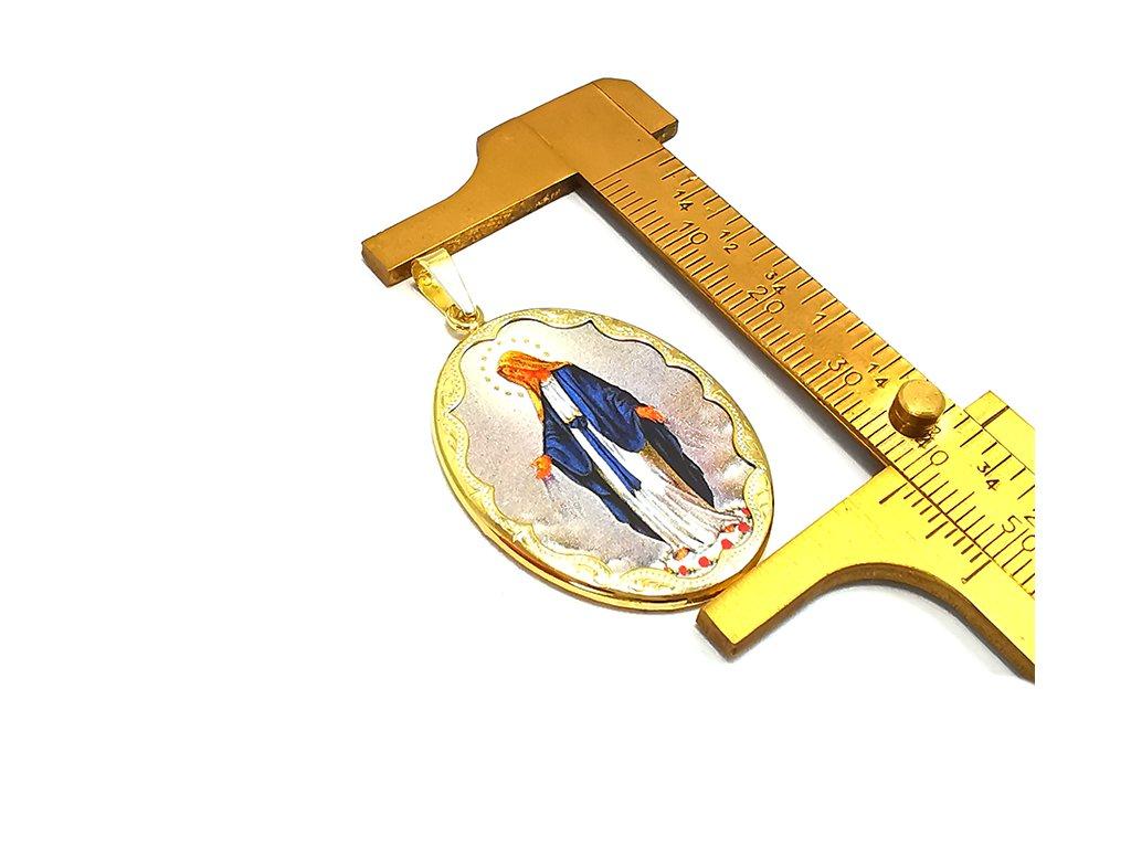 Zlatý prívesok s vyobrazením Madony  +servis + krabička