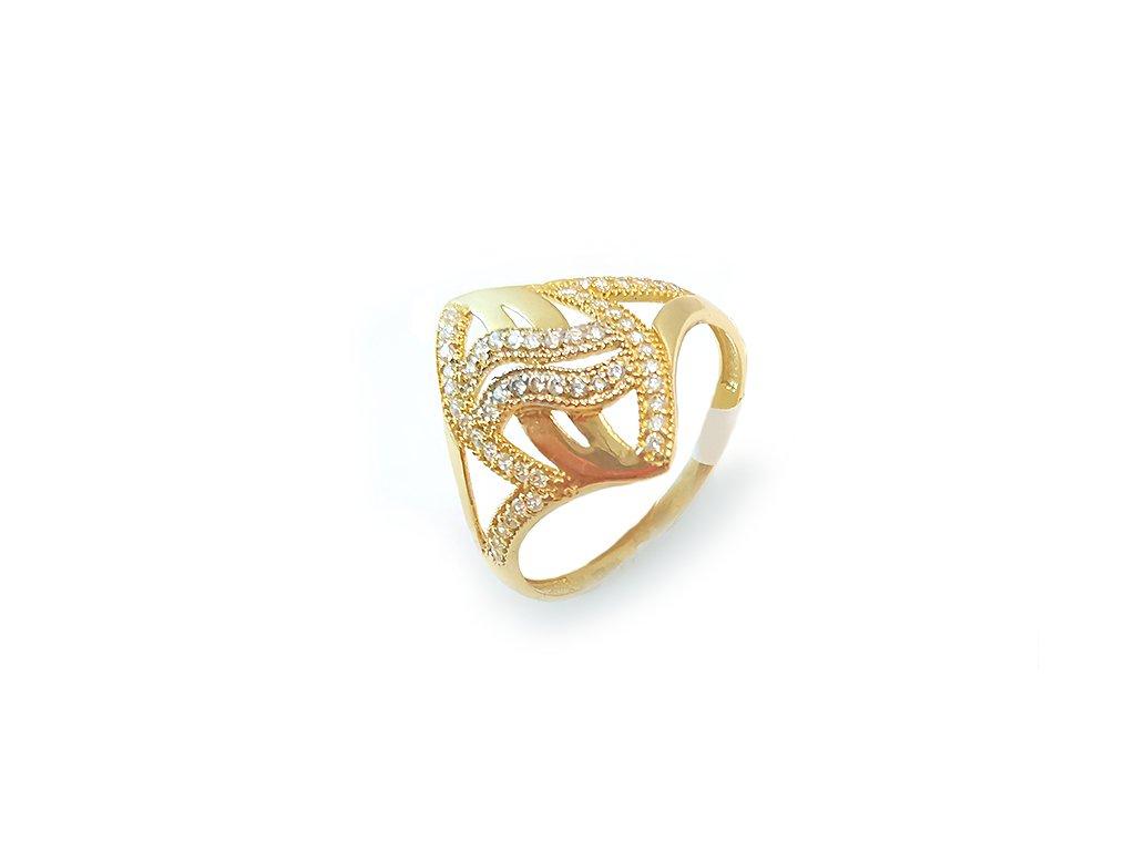 Zlatý dámsky prsteň dekorovaný bielymi zirkónmi  + servis # GIFTS # krabička