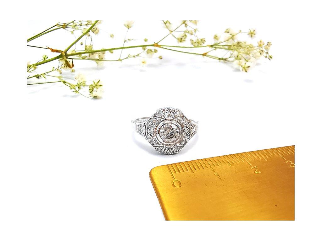 Luxusný zásnubný prsteň z bieleho zlata  + servis # GIFTS # krabička