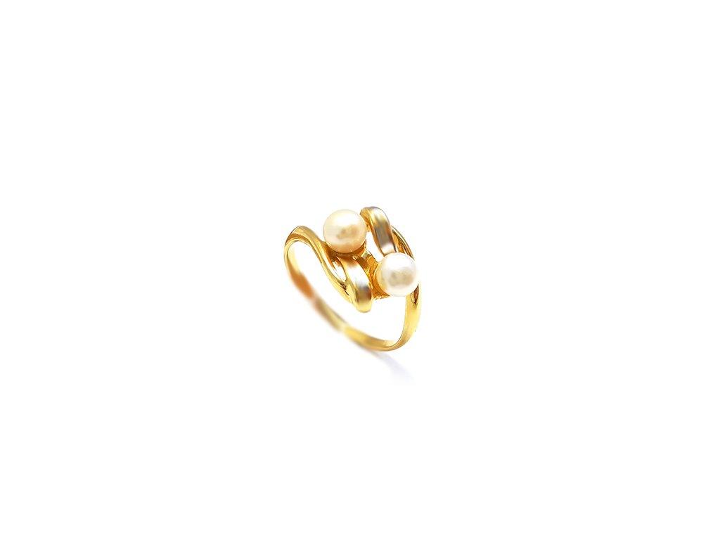 Zlatý perlový tradičný prsteň  + servis # GIFTS # krabička