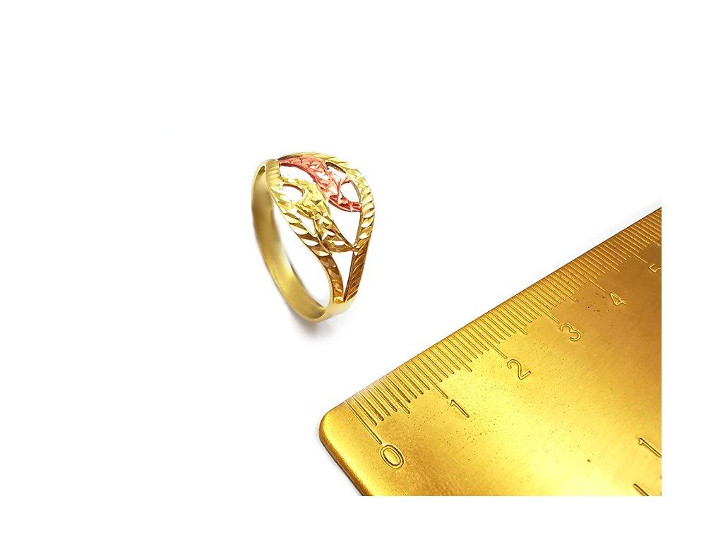 Zlatý dámsky gravírovaný prsteň  + servis # GIFTS # krabička