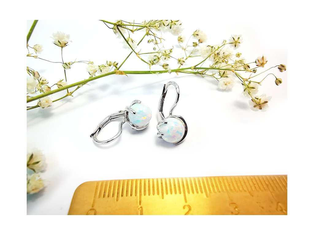 Náušnice s opálom z bieleho zlata  + servis a krabička, darček