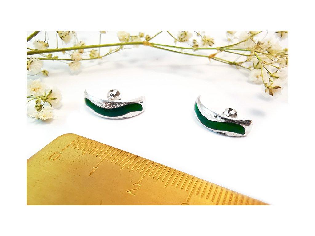 Náušnice so zeleným prúžkom  + servis a krabička, darček
