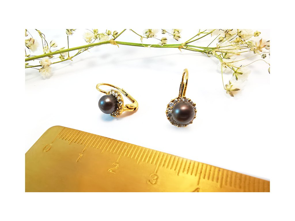 Nádherné náušnice s čiernou perlou  + servis a krabička, darček