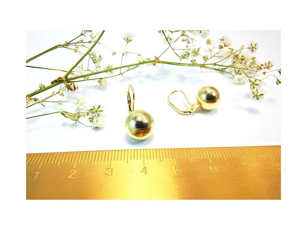 """Náušnice """"Guľôčky"""" zo žltého zlata  + servis a krabička, darček"""