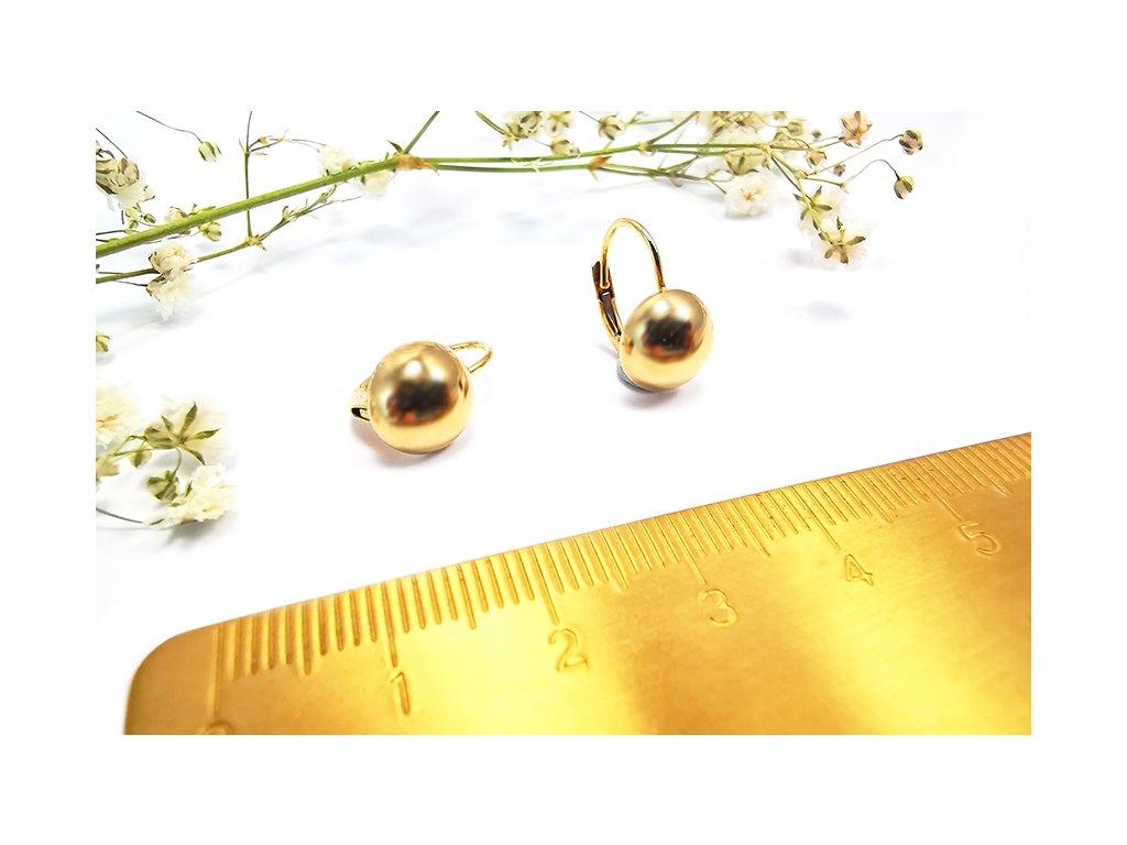 """Náušnice """" Polo guľôčky"""" zo žltého zlata  + servis a krabička, darček"""