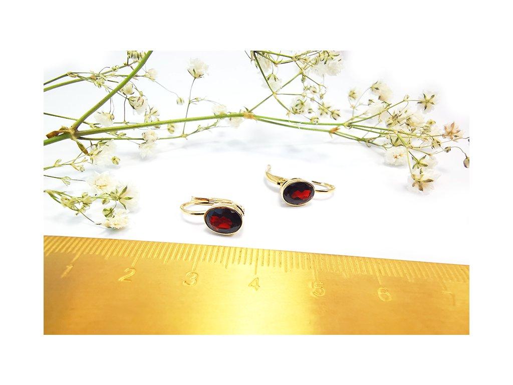 Zlaté náušnice s českým granátom  + servis a krabička, darček