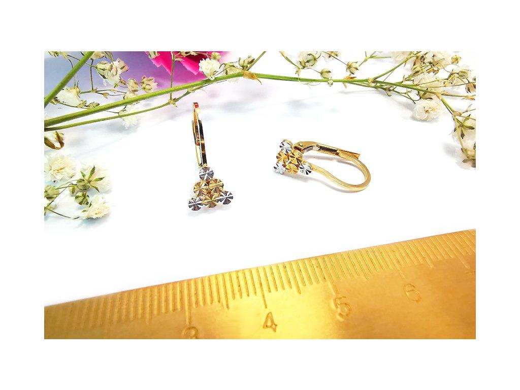 Dvojfarebné zlaté náušnice  + servis a krabička, darček